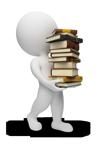un omino che sorregge una pila di libri