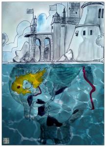 """""""Ofelia annega""""; illustrazione di Christian Durando"""