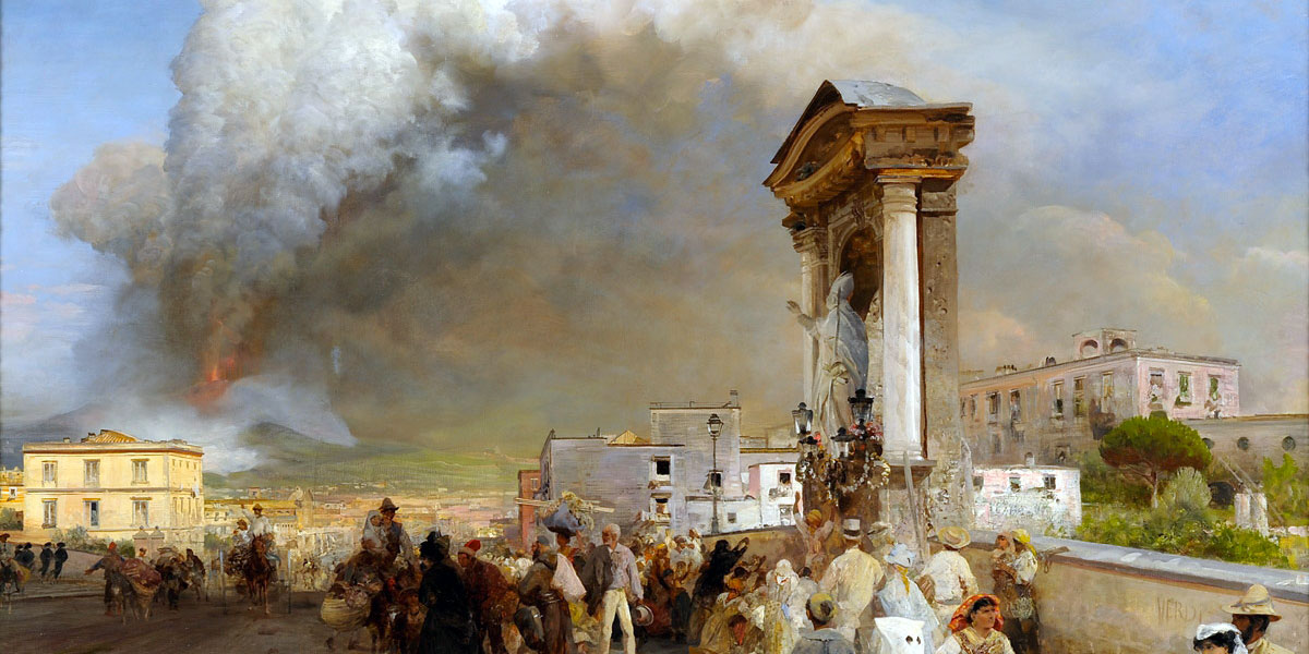 Oswald Achenbach (1827–1905). Neapel, Ausbruch des Vesuv 1872