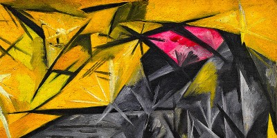 """Cats (rayist percep.[tion] in rose, black, and yellow)"" di Natalia Goncharova (1881–1962)."