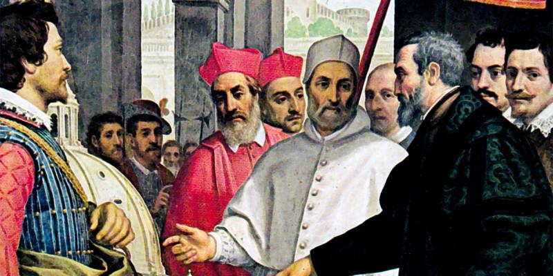 Michelangelo presenta a Paolo IV il modellino per San Pietro. Domenico Cresti, detto il Passignano (1559-1638)