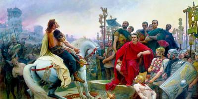 Vercingetorix jette ses armes aux pieds de Jules César. Lionel Royer (1852-1926)