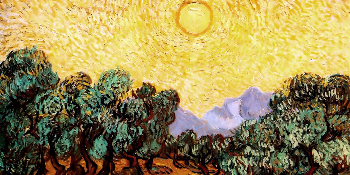 Ulivi con cielo giallo e sole. Vincent Van Gogh