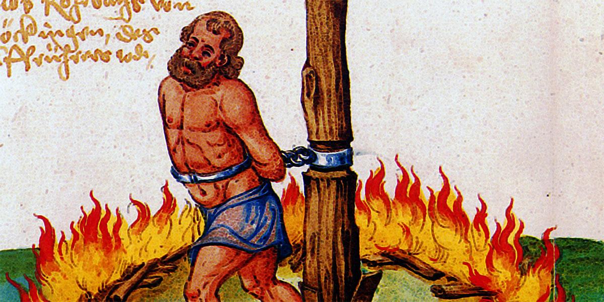 Un contadino messo al rogo dopo la disfatta di Frankenhausen