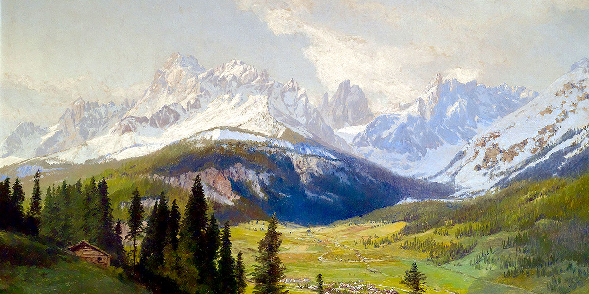 Sesto, la Meridiana di Sesto (Dolomiti di Sesto) e la Val Fiscalina - Vista dal Monte Elmo. Konrad Petrides (1864-1944)