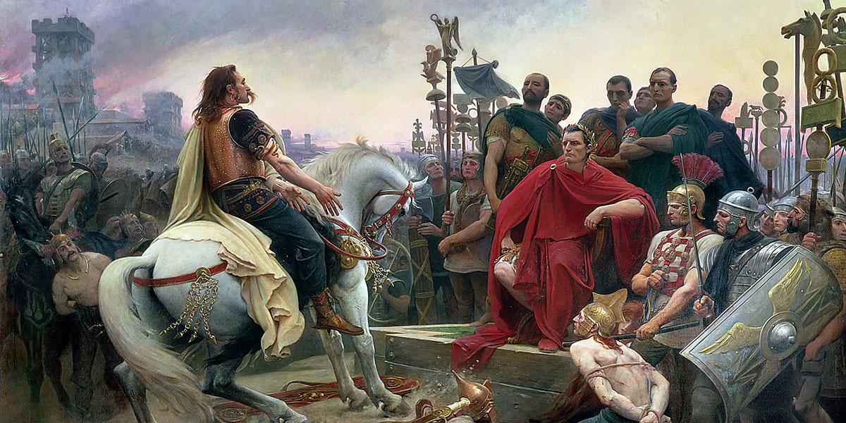 Vercingetorige getta le armi ai piedi di Cesare, 1899. Lionel Royer