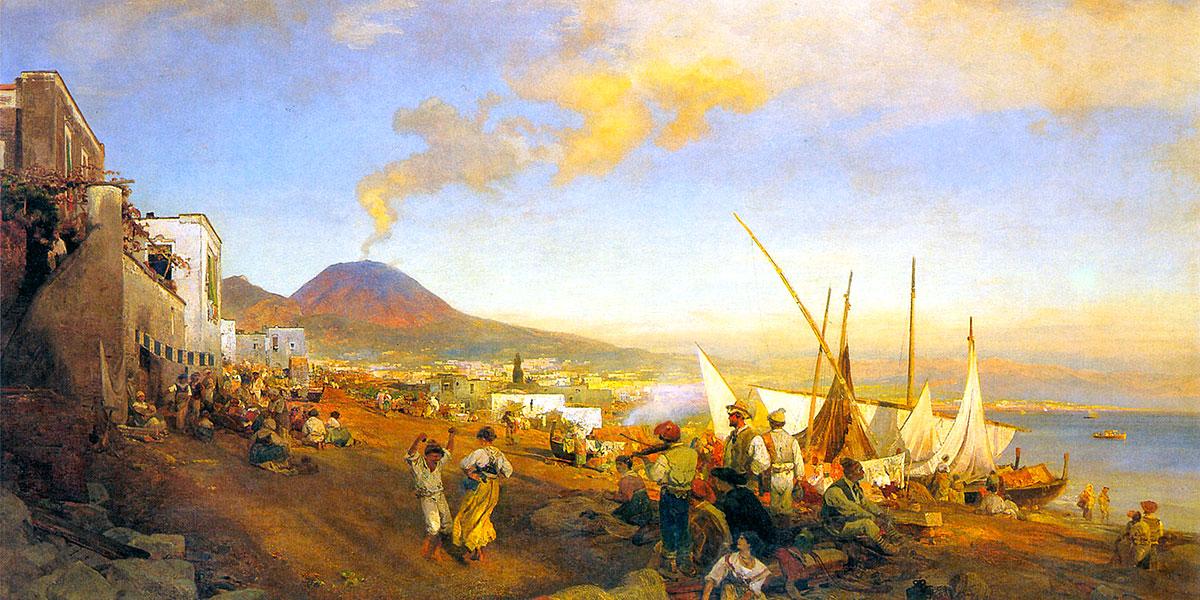 Am Strand von Neapel. Oswald Achenbach