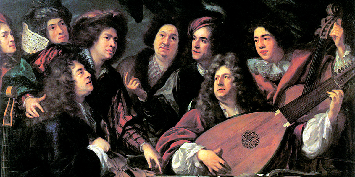Portrait of several musicians and artists by François Puget. Traditionally the two main figures have been identified as the composer Jean-Baptiste Lully and the librettist Philippe Quinault.