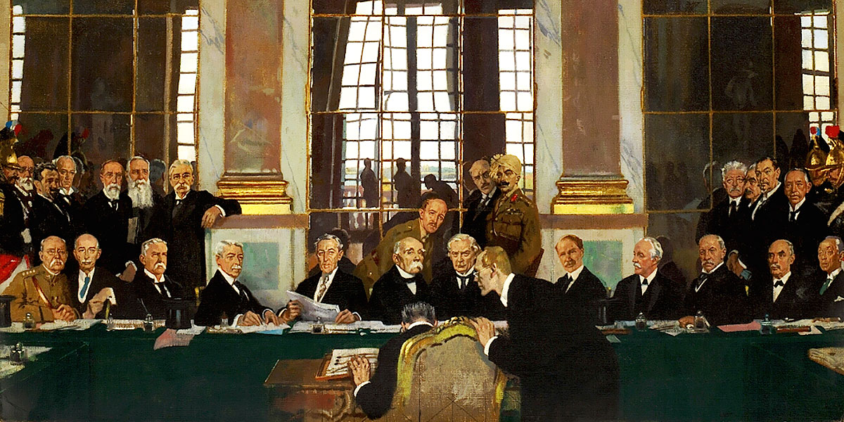 The Signing of Peace in the Hall of Mirrors, Versailles, 28 June 1919 (1919). William Orpen (1878-1931)