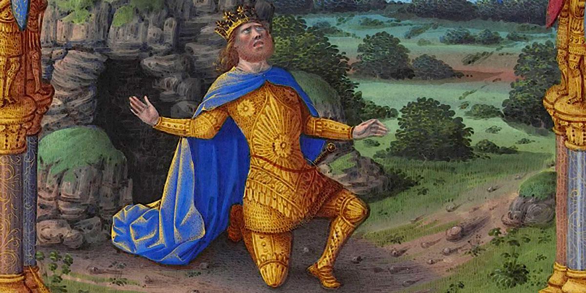 Misere, La pénitence de David, illustration du Psaume 51. Jean Colombe