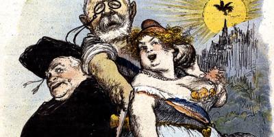 "Sèparation de l'Eglise et de l'Etat, caricatura da ""Le Rire"" 20 maggio 1905. Autore: Charles Lèandre (1862-1934)"
