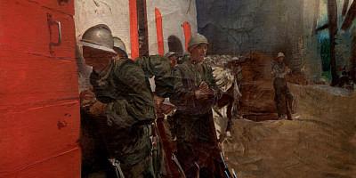 Giulio Aristide Sartorio (1860-1932), Sulla strada di Giavera durante il bombardamento, 1918