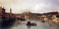 Veduta di Verona e del fiume Adige dal Ponte nuovo. Dipinto a olio di Bernardo Bellotto, 1747