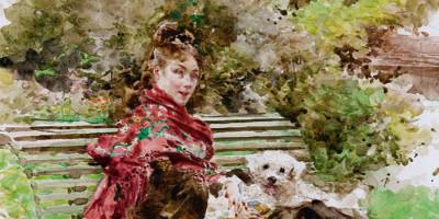 Giovanni Boldini, Al parco, 1872. Acquarello su carta