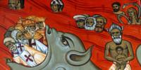 Affresco in una chiesa del Montenegro con Tito, Marx ed Engels dipinti all'Inferno (anonimo)