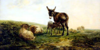 Donkey and Sheep. William Shayer