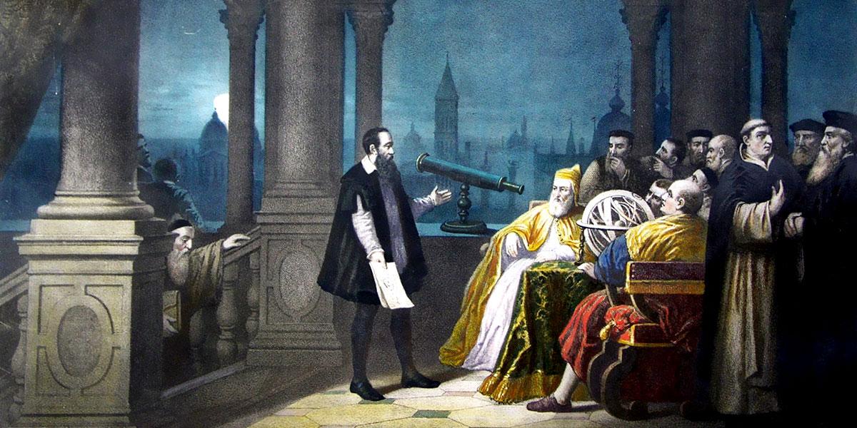 Pittura immaginaria che mostra Galileo Galilei esibire il suo telescopio a Leonardo Donato. Henry-Julien Detouche