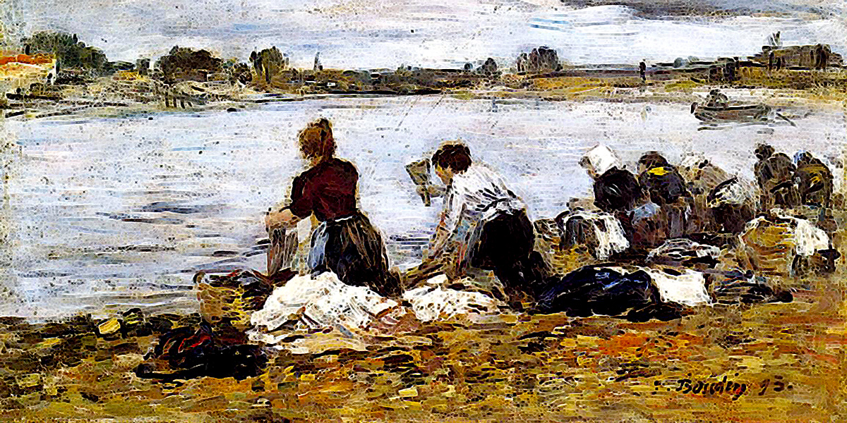 Laundresses on the Banks of the Touques. Eugene Boudin