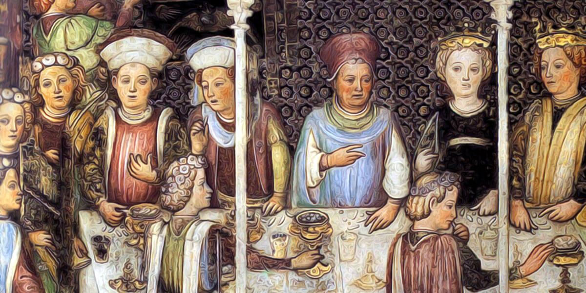 Fratelli Zavattari - Banchetto di nozze - Cappella di Teodolinda - Duomo di Monza - 1444