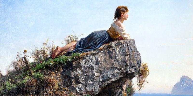 Fanciulla sulla roccia a Sorrento. Filippo Palizzi (1818–1899)
