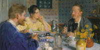 Peder Severin Krøyer - A luncheon. The artist, his wife and the writer Otto Benzon