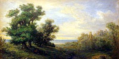 Giovanni Carnovali, Paesaggio dai grandi alberi. 1850