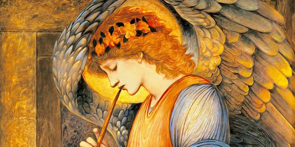 An Angel Playing a Flageolet, 1878 di Edward Burne-Jones (1833–1898)