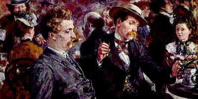 At the beer garden (1883). Adolph Menzel