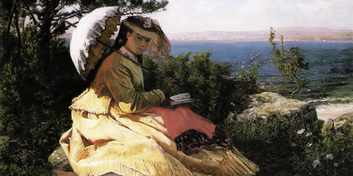 Jules Breton (1827–1906), Élodie with a Sunshade, Baie de Douarnenez (1871)