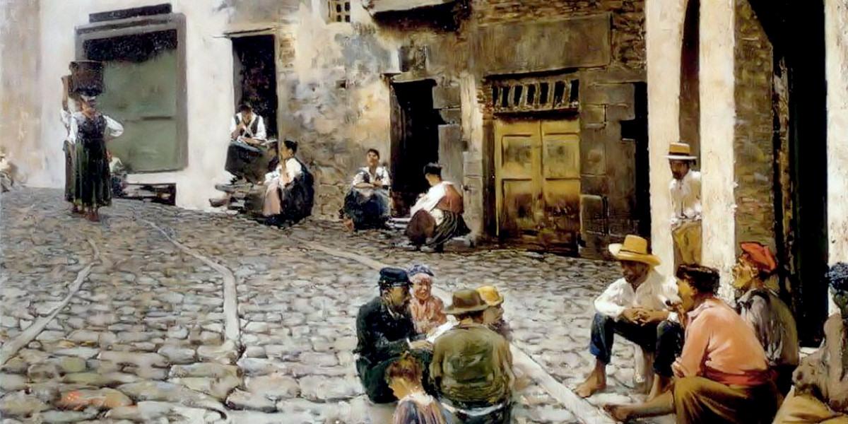 Chiacchiere a Riomaggiore (1893). Telemaco Signorini
