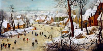 Winter Landscape with Skaters and a Bird Trap. Pieter Bruegel the Elder