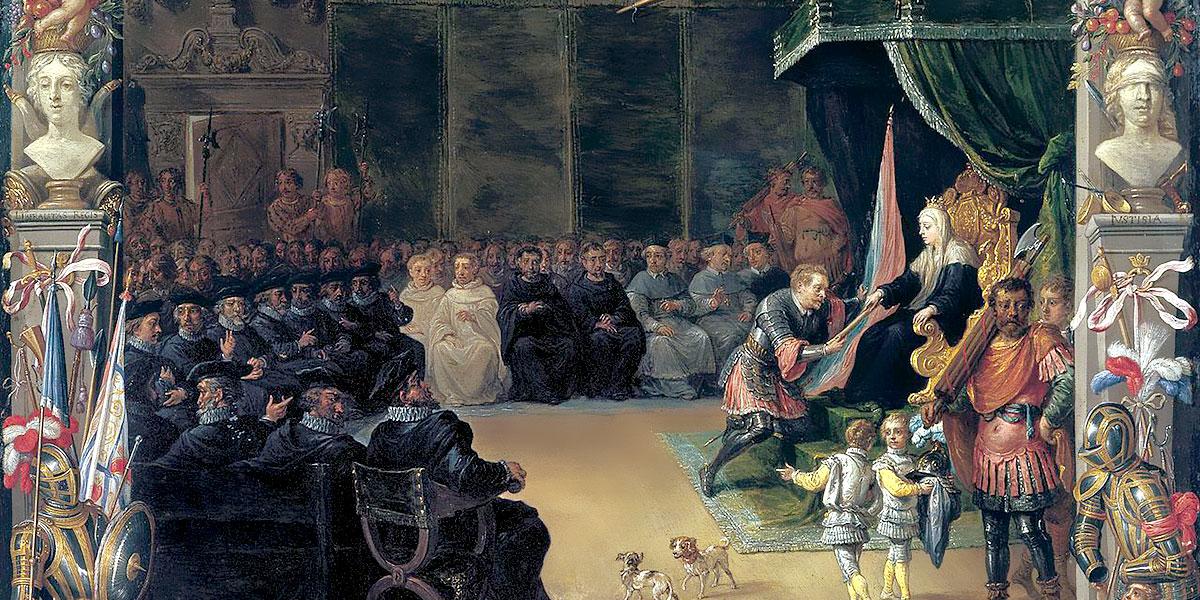 David Teniers II and Jan van Kessel I - The Presentation of the Captain General's Baton to Antonio de Moncada by the Queen Regent Blanca of Sicily in 1410