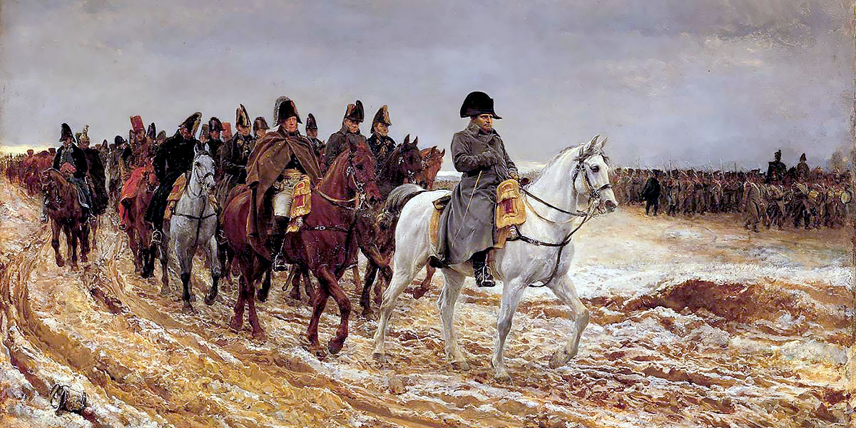 1814, Campagne de France. Napoleon and his staff returning from Soissons after the Battle of Laon. Ernest Meissonier