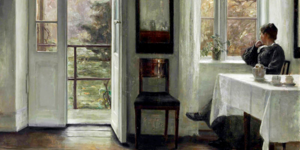 The Artist's Wife Sitting at a Window in a Sunlit Room. Carl Holsøe