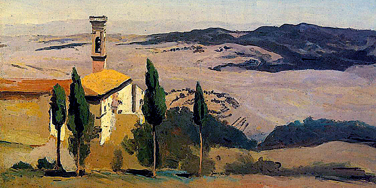 Volterra, Church and Bell Tower. Camille Corot