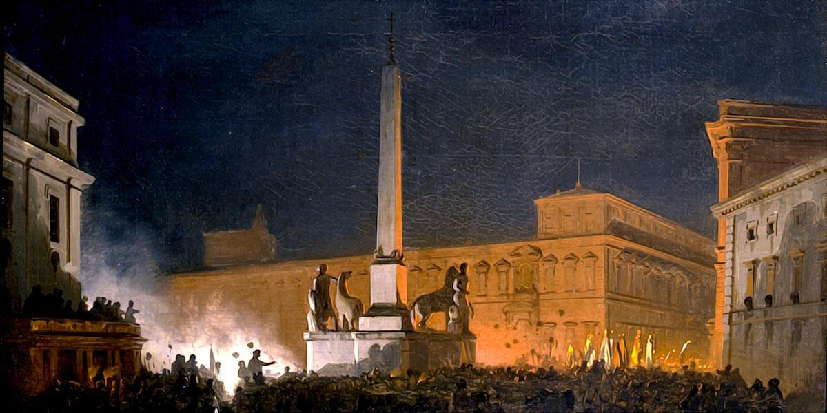 Benedizione Di Pio Ix dal Quirinale di notte. Ippolito Caffi