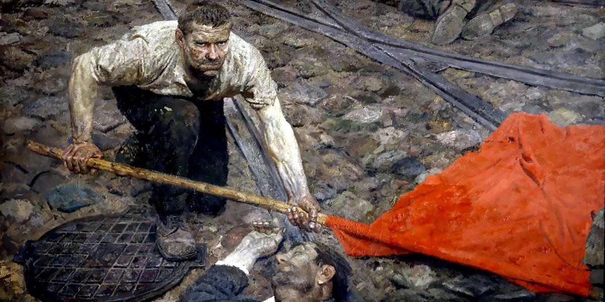 Gelij Koržev. Triptych Communists. Raising the standard (central part)