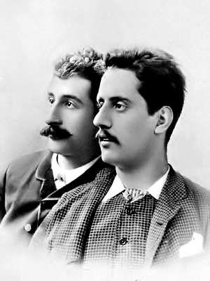 Ferdinando Fontana (a sinistra) con Giacomo Puccini, intorno al 1885