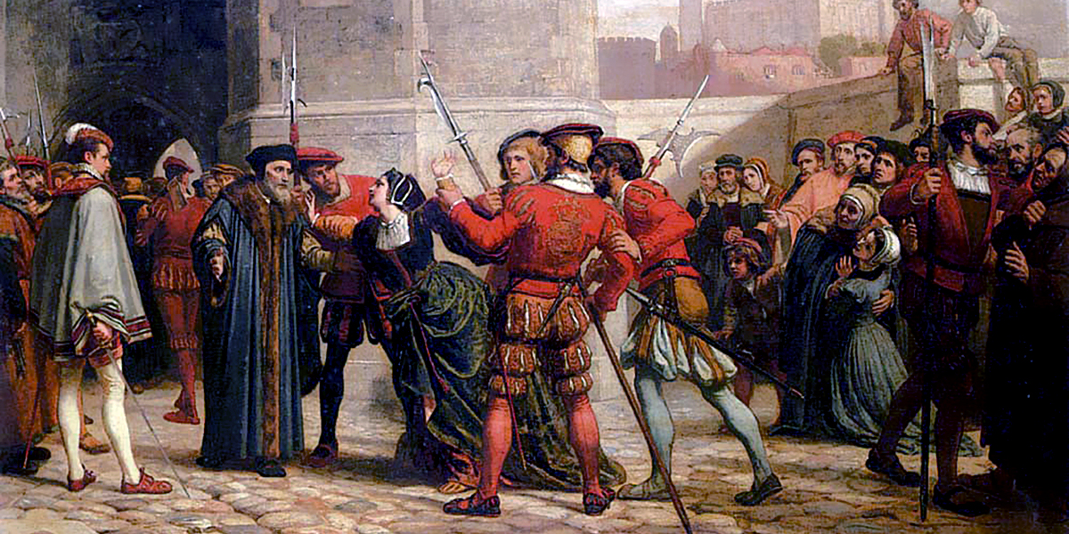William Frederick Yeames (1835-1918), The Meeting of Sir Thomas More with His Daughter after His Sentence of Death (1863, Colección privada)