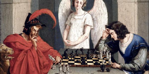 Faust und Mephisto beim Schachspiel. Anonimo