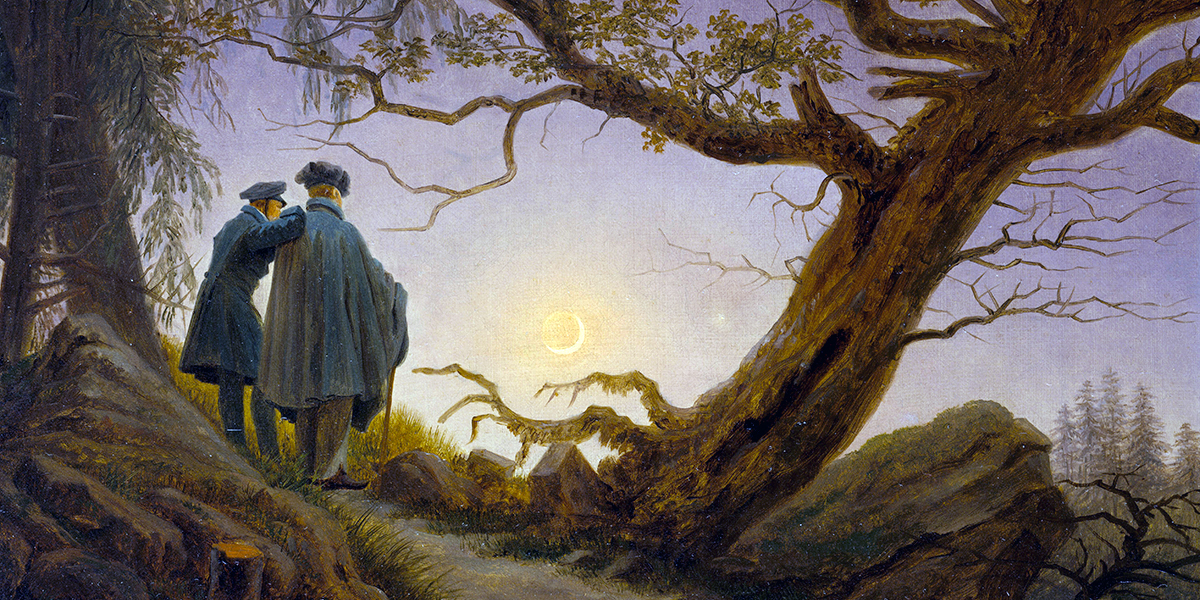 Two Men Contemplating the Moon. Caspar David Friedrich