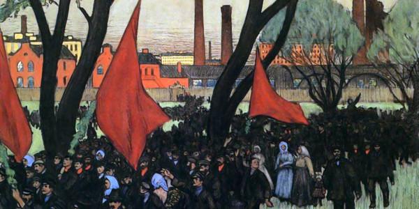 May Day demonstration in Putilov. Boris Kustodiev