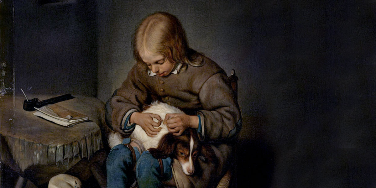 The Flea-Catcher (Boy with his Dog). Gerard Terborch
