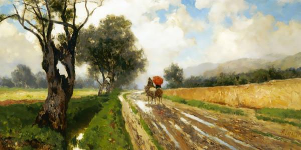 Strada di campagna con figure. Francesco Lojacono