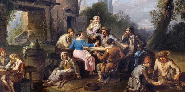 Bambocciata, Festa di contadini nella campagna romana. Paolo Monaldi, olio su tela