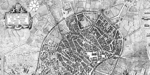 Topografia della città di Milano assediata dall'imperatore Federico Babarossa Primo nell'anno MCLVIII, ricostruzione ipotetica disegnata da Domenico Aspari nel 1778