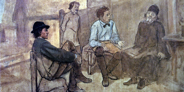 Students talk with the monk. Vasily Perov