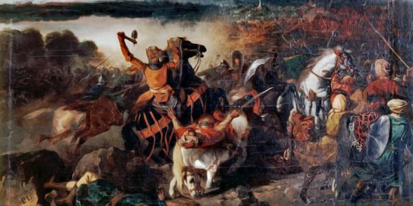 Ruggero I di Sicilia alla battaglia di Cerami (1063). Prosper Lafaye (1806–1883)