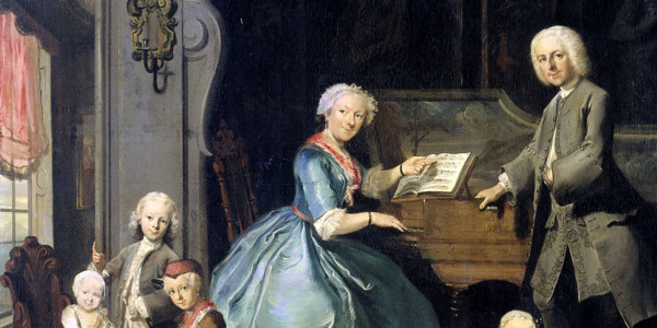 Family group at a harpsichord. Cornelis Troost