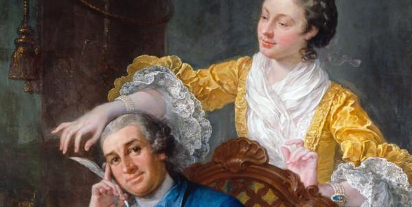 """David Garrick (1717-79) with his wife Eva-Maria Veigel, ""La Violette"" or ""Violetti"" (1725 – 1822)"" di William Hogarth (1697-1764)"